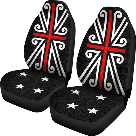 New Zealand Maori Flag Car Seat Covers K4 - 1st New Zealand