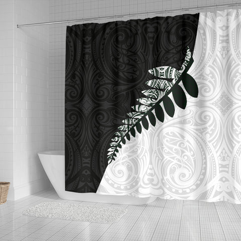 Image of New Zealand Silver Fern Shower Curtain Black White K40