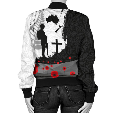Anzac Day Women Bomber Jacket, New Zealand Australia Lest We Forget K4 - 1st New Zealand