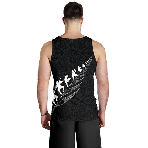 Rugby Haka Fern Tank Tops For Men Black K4 - 1st New Zealand