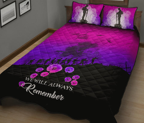 Image of Remember Anzac New Zealand Quilt Bed Set Pink K5 - 1st New Zealand