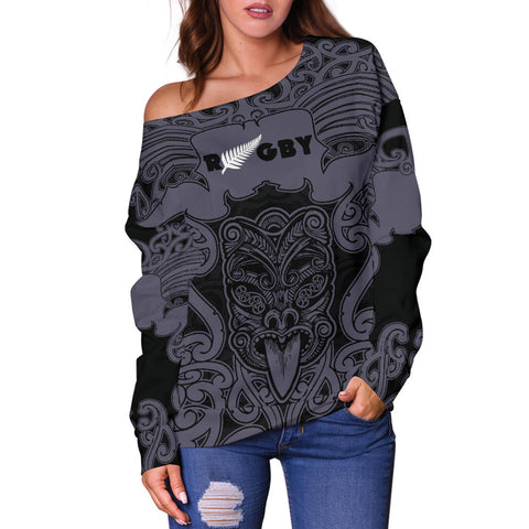 Image of Maori Mangopare Off Shoulder Sweater Black K6 - 1st New Zealand