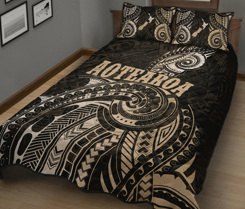 Maori Tattoo with Map New Zealand Quilt Bed Set K4 - 1st New Zealand