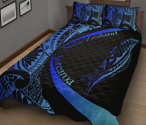 New Zealand Silver Fern Quilt Bed Set Maori Tattoo Circle Style - Blue J95 - 1st New Zealand