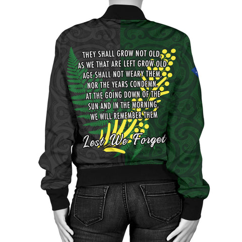 Anzac Spirit, Lest We Forget Women Bomber Jacket K5 - 1st New Zealand