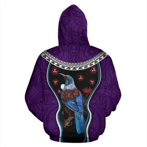 Image of New Zealand Tui Bird Hoodie, Pohutukawa Pullover Hoodie - Purple K4 - 1st New Zealand
