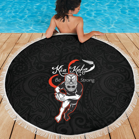 Beach Blanket NZ Rugby Kia Kaha Be Strong - Black Version 2 K4 - 1st New Zealand