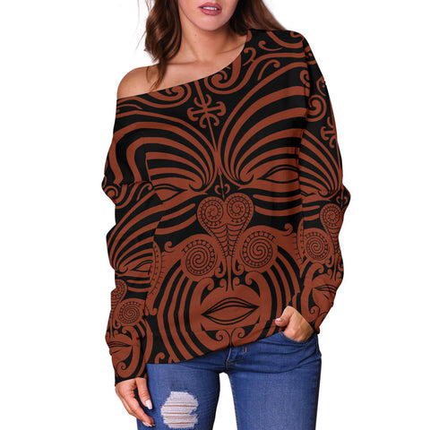 New Zealand Women's Off Shoulder Sweater Moko Maori Th5 - 1st New Zealand