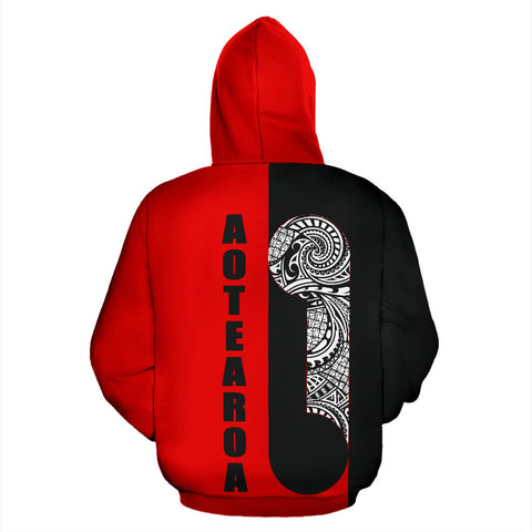 Maori Koru Aotearoa Hoodie - Black And Red Color - Back