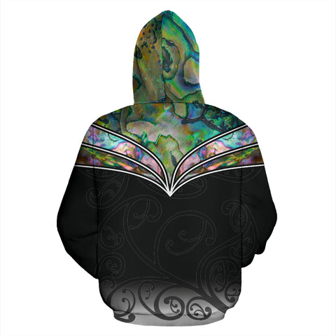 New Zealand Paua Shell with Maori Face Hoodie K4 - 1st New Zealand