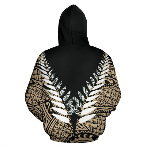 Image of New Zealand Aotearoa Silver Fern Hoodie - Gold Vline Version back