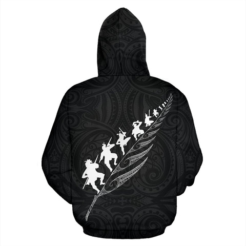 Image of Rugby Haka Fern Zip Up Hoodie Black K4 - 1st New Zealand