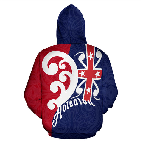 Koru Aotearoa Flag Zip Hoodie - Navy And Red Color - Back