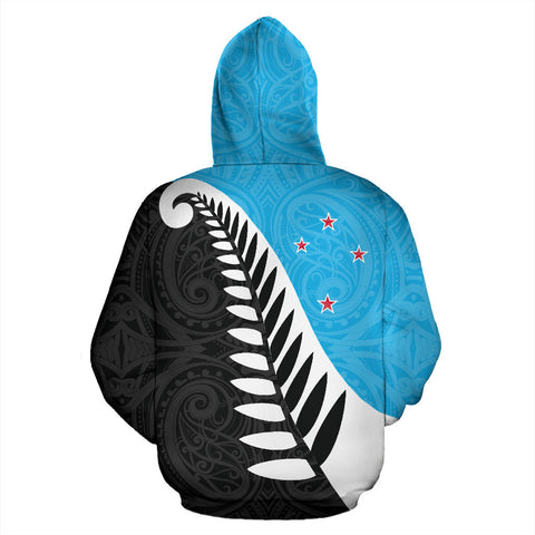 Koru Fern New Zealand Hoodie Blue - Blue And Black Color - Back