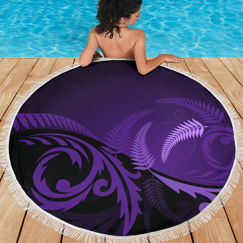 Image of New Zealand Silver Fern Beach Blanket Purple K4 Front 2
