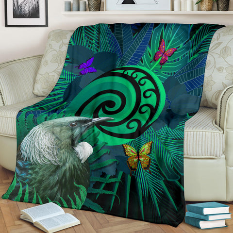 New Zealand Premium Blanket Koru Fern Mix Tui Bird - Tropical Floral Turquoise K4 - 1st New Zealand