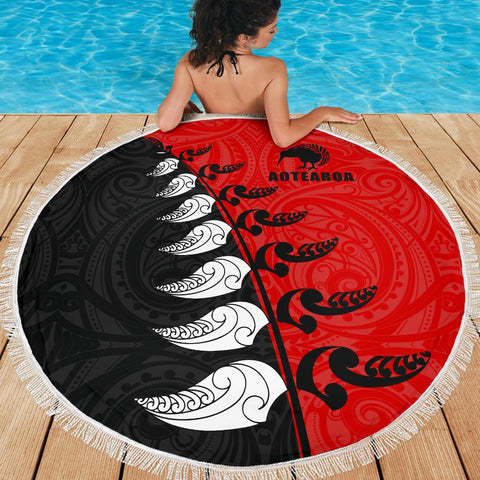 Beach Blanket NZ Aotearoa Silver Fern Koru Style Red K4 - 1st New Zealand