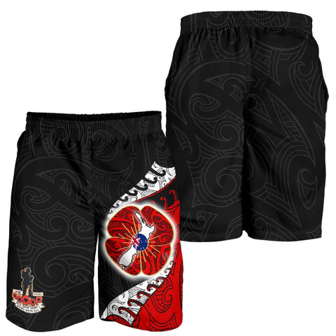 New Zealand Anzac Day Shorts, Flanders Poppy Men's All Over Print Board Shorts K4 - 1st New Zealand