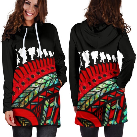 Anzac Soldiers New Zealand Hoodie Dress, Poppies Lest We Forget Maori Paua K4