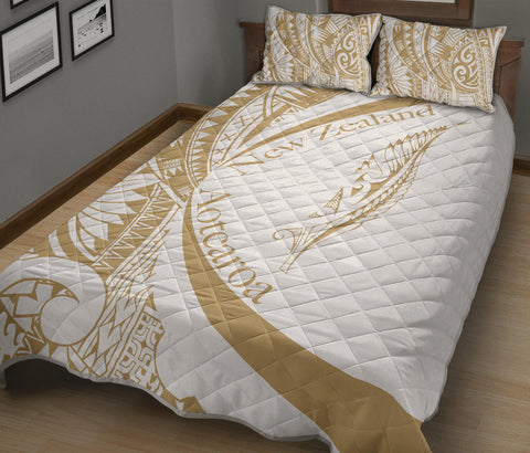 New Zealand Silver Fern Quilt Bed Set Maori Tattoo Circle Style - White J95