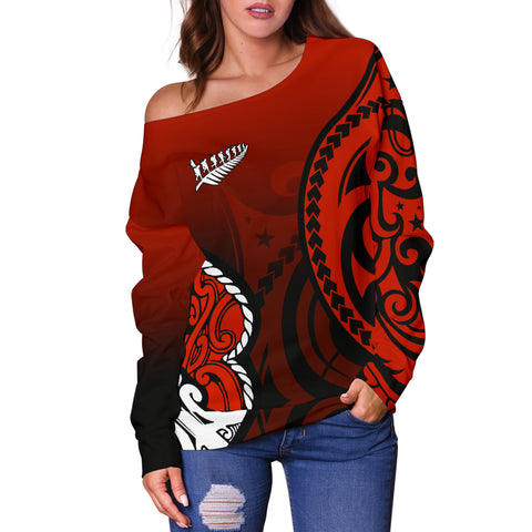 Lest We Forget - Maori Poppy Pullover Off Shoulder Sweater Th00 - 1st New Zealand