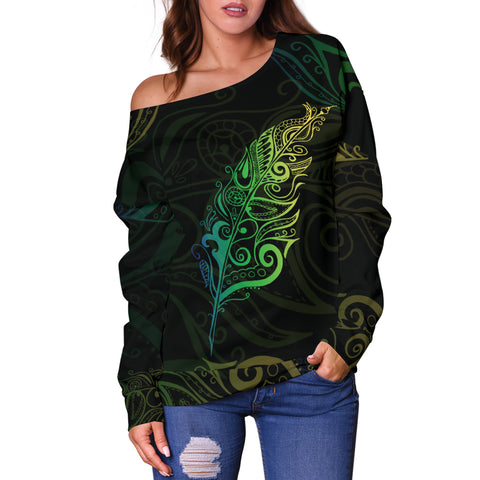 Image of Light Silver Fern New Zealand Off Shoulder Sweater K5 - 1st New Zealand