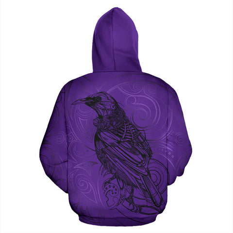 Image of New Zealand Tui Bird Hoodie Drawing Purple back