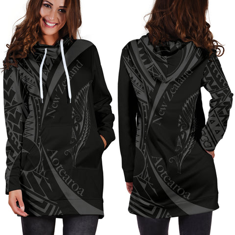 New Zealand Silver Fern Hoodie Dress Maori Tattoo Circle Style J95 - 1st New Zealand