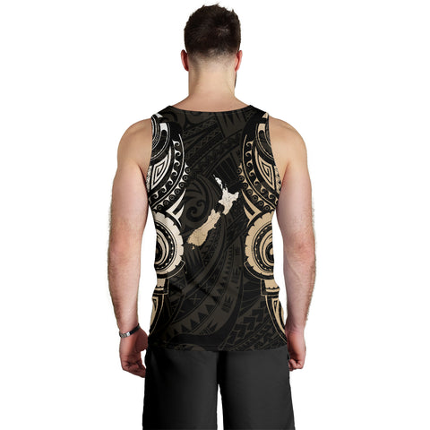 Image of Maori Tattoo with Map New Zealand Men's Tank Top K4 - 1st New Zealand