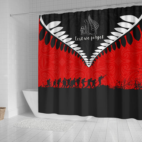 New Zealand Lest We Forget Shower Curtain Black Red K40