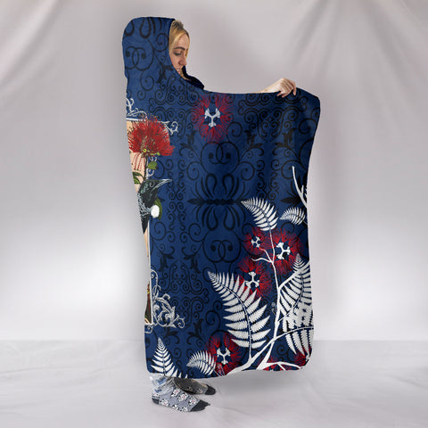 Image of Pohutukawa with Tui Bird Navy Hooded Blanket New Zealand K5
