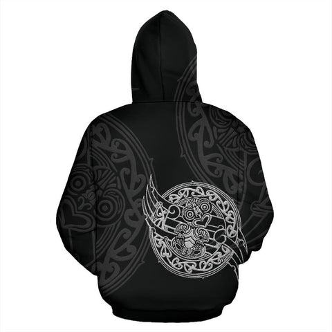 Maori Tiki New Zealand Hoodie with Black color - Back - For Men and Women