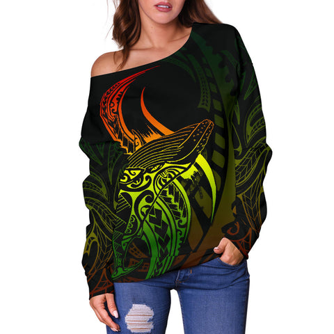 Maori Off Shoulder Sweater Humpback Whale Tattoo Rasta K4