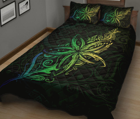 New Zealand Light Silver Fern x Frangipani Tattoo Quilt Bedding Sets - Green K5 - 1st New Zealand