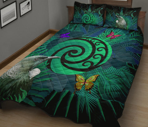 New Zealand Quilt Bed Set Koru Fern Mix Tui Bird - Tropical Floral Turquoise K4