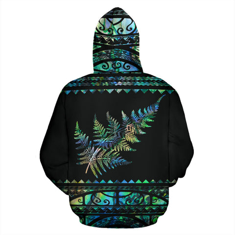 Image of New Zealand Maori Zip Up Hoodie, Aotearoa Silver Fern Zipper Hoodie - Paua Shell K4x - 1st New Zealand