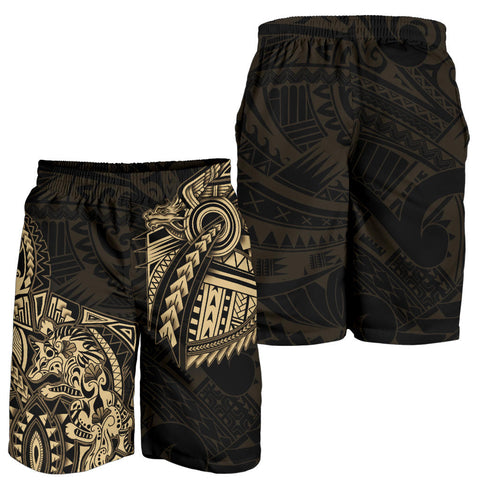 Image of New Zealand Maori Polynesian Wolf Dragon Tattoo Men Shorts - Gold K4 - 1st New Zealand