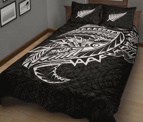 Maori Tattoo Quilt Bed Set Polynesian Style Black K4 - 1st New Zealand
