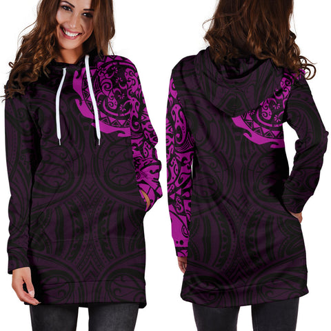 Maori Tangaroa Tattoo New Zealand Hoodie Dress - Pink A75 - 1st New Zealand