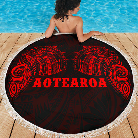 Image of Aotearoa Maori Tattoo Beach Blanket Red K4 - 1st New Zealand