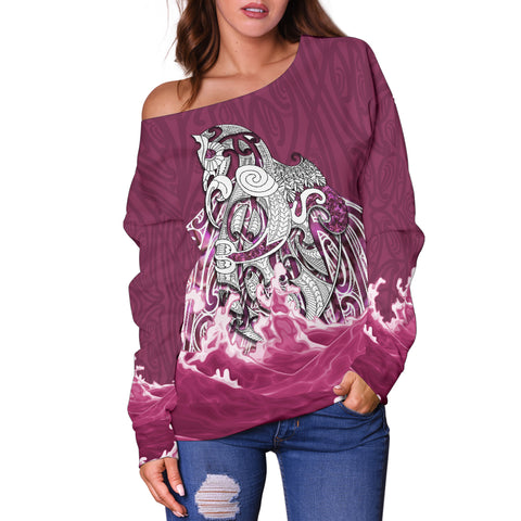 Maori Manaia The Blue Sea Women's Off Shoulder Sweater, Pink K5