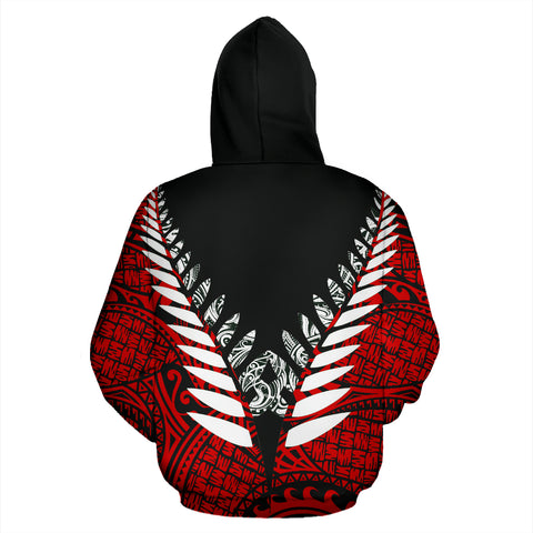 New Zealand Aotearoa Silver Fern Hoodie - Red Vline Version back