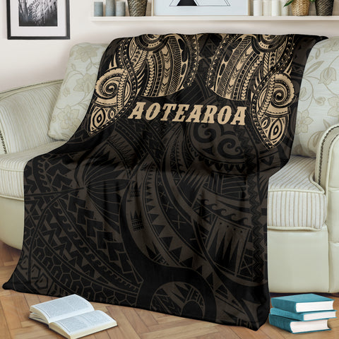 Image of Aotearoa Maori Tattoo Premium Blanket Golden K4 - 1st New Zealand