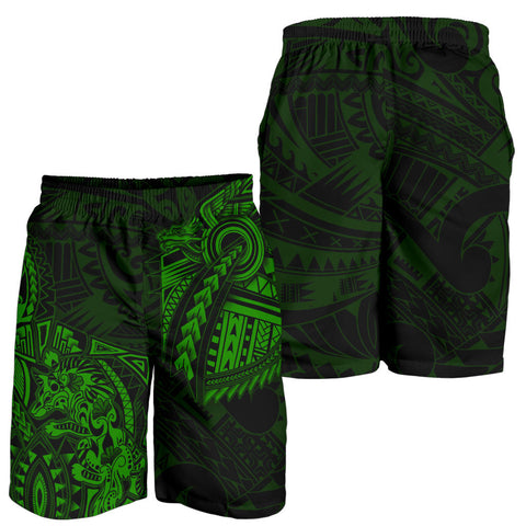 New Zealand Maori Polynesian Wolf Dragon Tattoo Men Shorts - Green K4