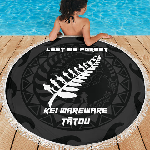 Image of Anzac Tattoo New Zealand, Lest We Forget Beach Blanket K5 - 1st New Zealand