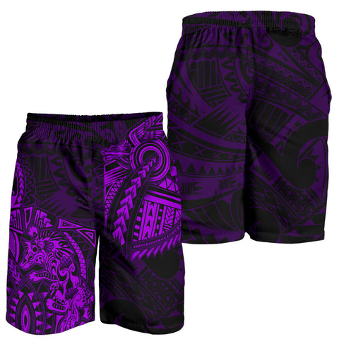 New Zealand Maori Polynesian Wolf Dragon Tattoo Men Shorts - Purple K4 - 1st New Zealand