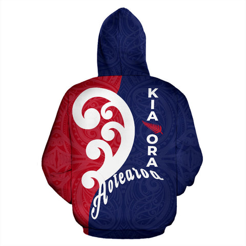 Kia Ora Aotearoa With Koru Zip Hoodie - Red Navy Color - Back