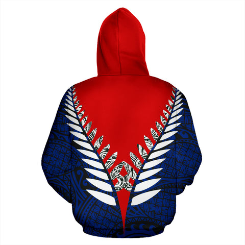 Image of New Zealand Aotearoa Silver Fern Hoodie - Red Blue Vline Version back
