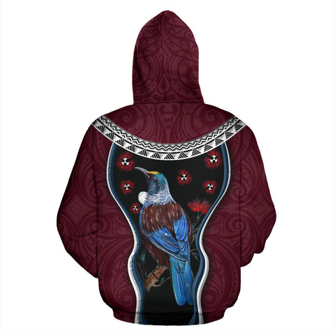 Image of New Zealand Tui Bird Hoodie, Pohutukawa Pullover Hoodie - Burgundy K4 - 1st New Zealand