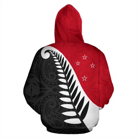 Koru Fern New Zealand Hoodie - Red And Black Color - Back